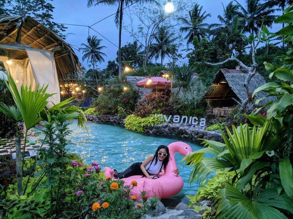 spot kolam renang dan flamingo