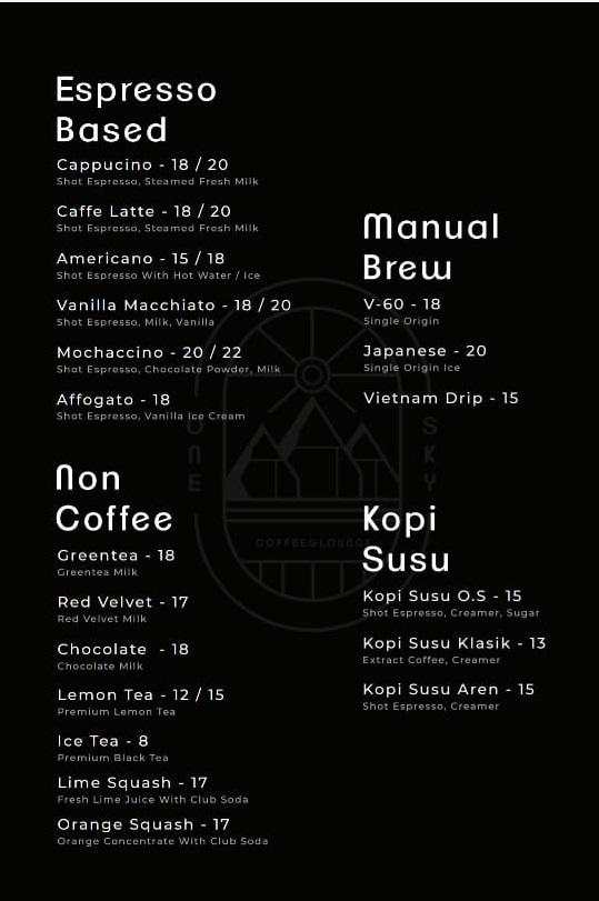 daftar menu one sky payakumbuh