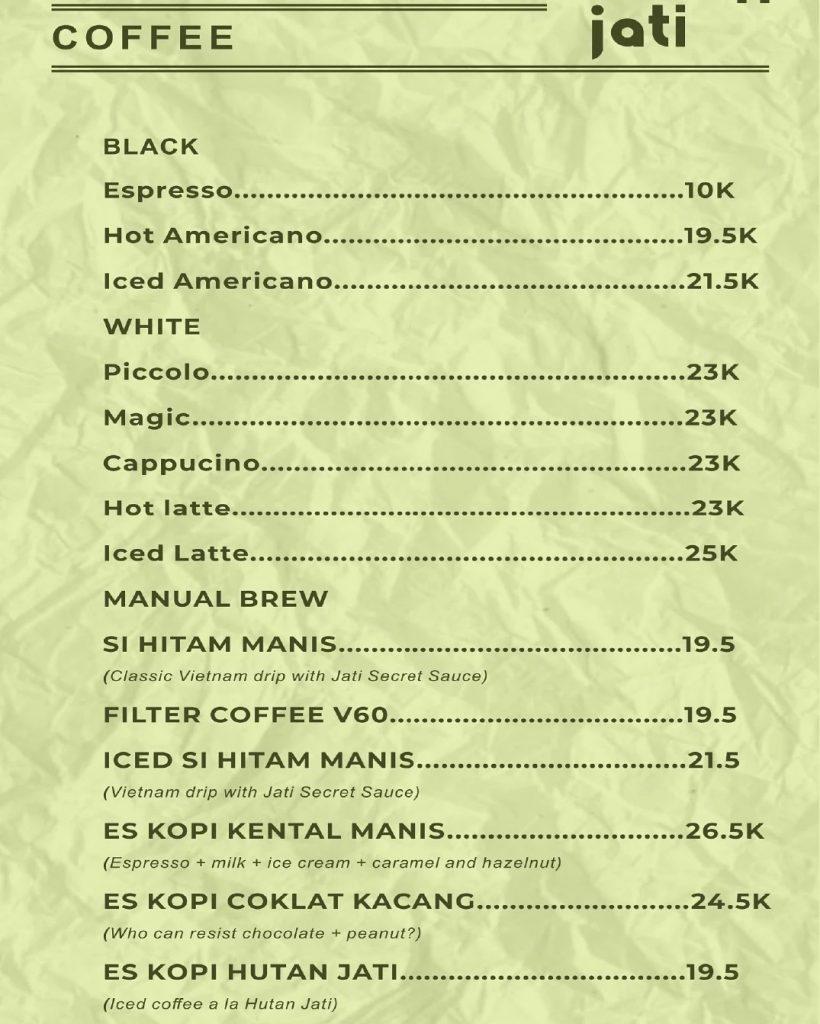 menu hutan jati cafe & gelato